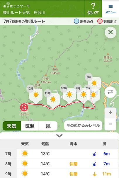 登山ルート天気サンプル画像